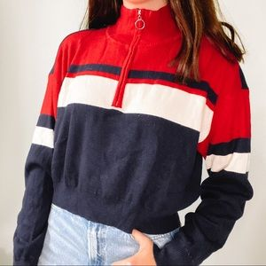 stripe zip up
